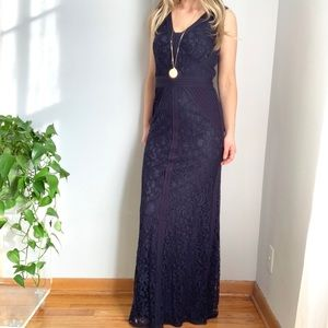 Nwot Tadashi Shoji navy lace maxi dress sz 4